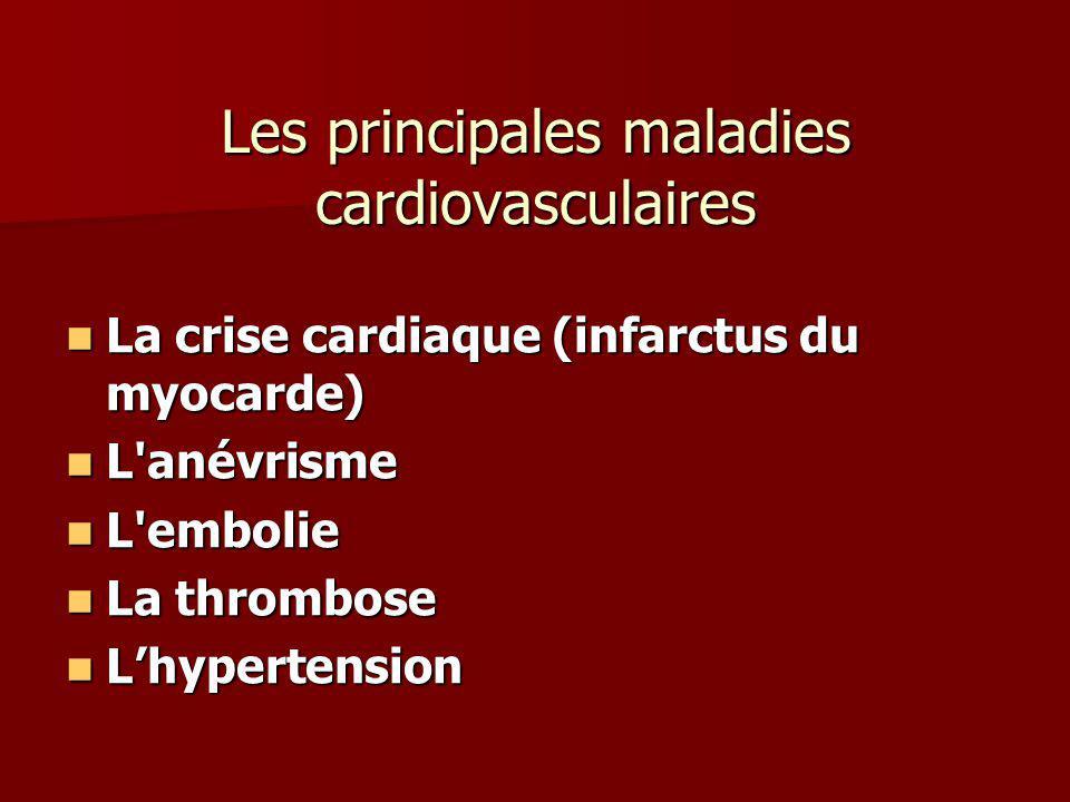 Les principales maladies cardiovasculaires La crise cardiaque (infarctus du myocarde) La crise cardiaque (infarctus du myocarde) L'anévrisme L'anévris