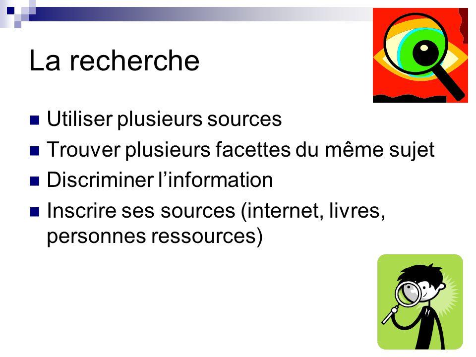 La recherche Utiliser plusieurs sources Trouver plusieurs facettes du même sujet Discriminer linformation Inscrire ses sources (internet, livres, personnes ressources)