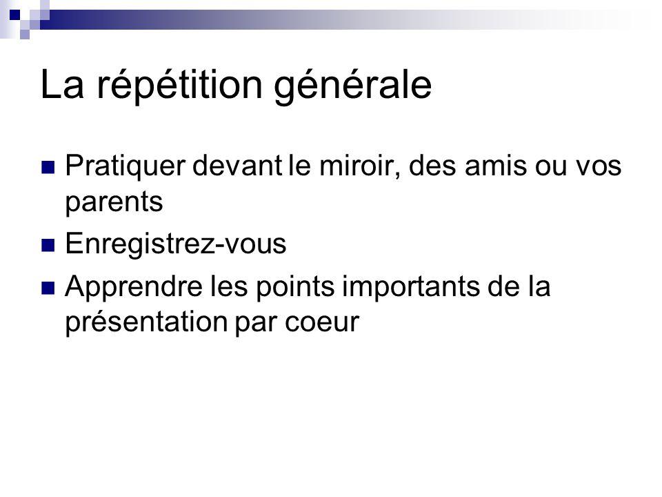 La répétition générale Pratiquer devant le miroir, des amis ou vos parents Enregistrez-vous Apprendre les points importants de la présentation par coeur