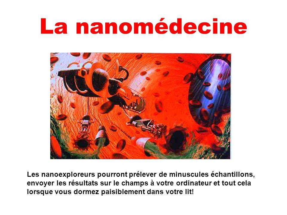 La nanomédecine Les nanoexploreurs pourront prélever de minuscules échantillons, envoyer les résultats sur le champs à votre ordinateur et tout cela l