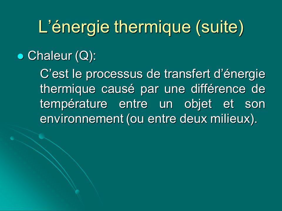 Lénergie thermique (suite) Chaleur (Q): Chaleur (Q): Cest le processus de transfert dénergie thermique causé par une différence de température entre u
