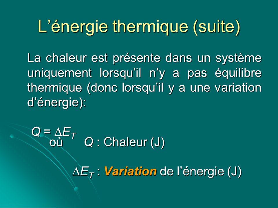 Lénergie thermique (suite) La chaleur est présente dans un système uniquement lorsquil ny a pas équilibre thermique (donc lorsquil y a une variation d