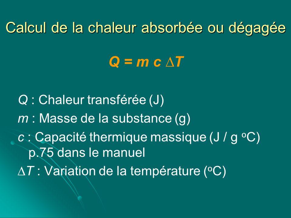 Calcul de la chaleur absorbée ou dégagée Q = m c T Q : Chaleur transférée (J) m : Masse de la substance (g) c : Capacité thermique massique (J / g o C