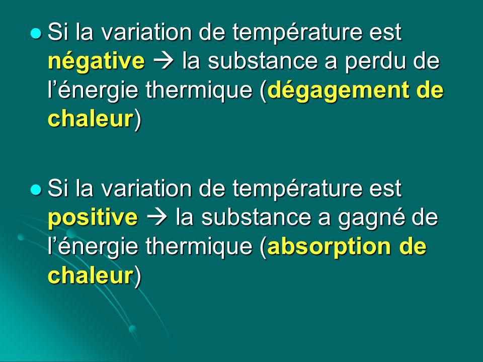 Si la variation de température est négative la substance a perdu de lénergie thermique (dégagement de chaleur) Si la variation de température est néga