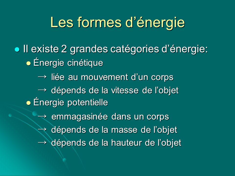 Les formes dénergie Il existe 2 grandes catégories dénergie: Il existe 2 grandes catégories dénergie: Énergie cinétique Énergie cinétique Énergie pote