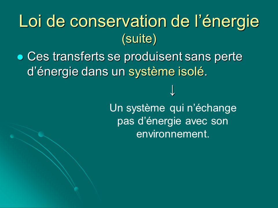 Loi de conservation de lénergie (suite) Ces transferts se produisent sans perte dénergie dans un système isolé. Ces transferts se produisent sans pert