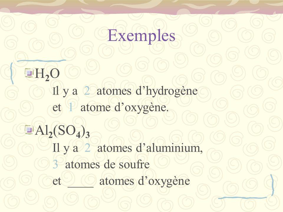 Exemples H 2 O I l y a 2 atomes dhydrogène et 1 atome doxygène.