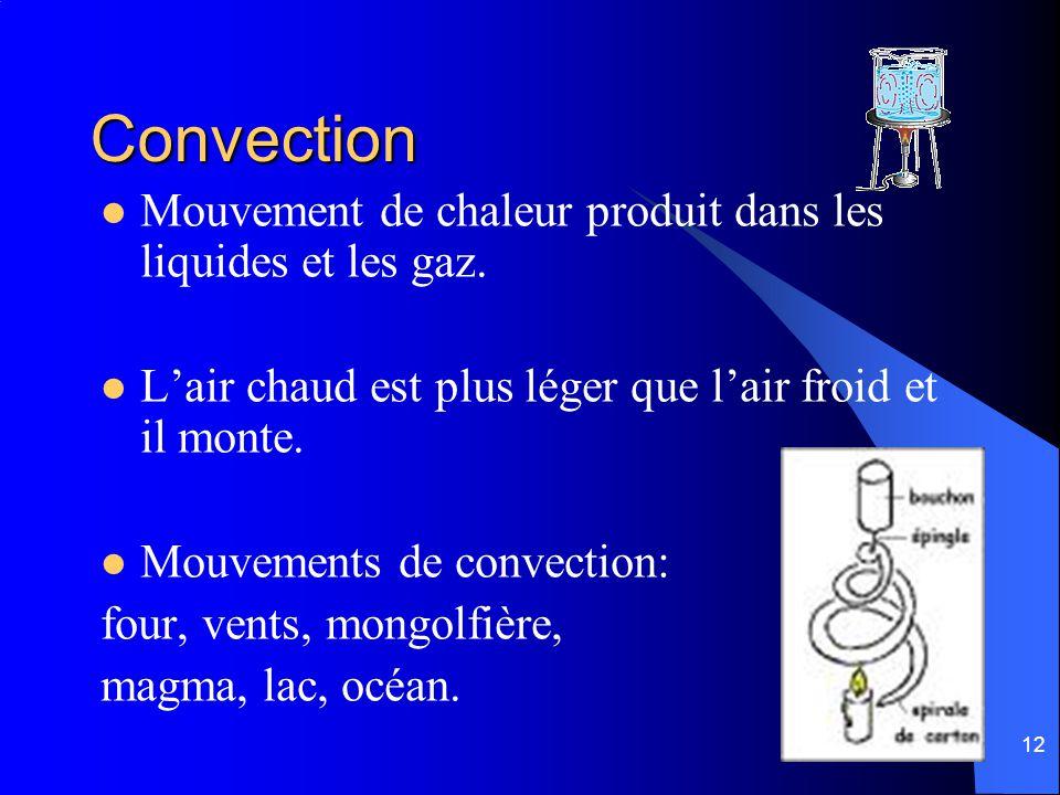 12 Convection Mouvement de chaleur produit dans les liquides et les gaz. Lair chaud est plus léger que lair froid et il monte. Mouvements de convectio