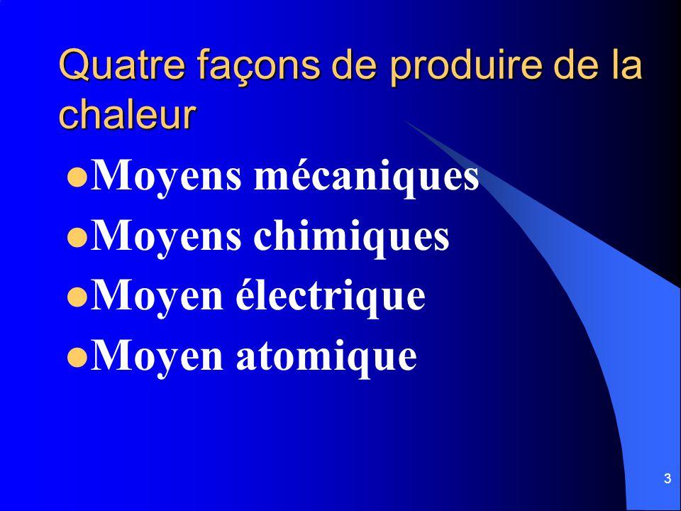 3 Quatre façons de produire de la chaleur Moyens mécaniques Moyens chimiques Moyen électrique Moyen atomique