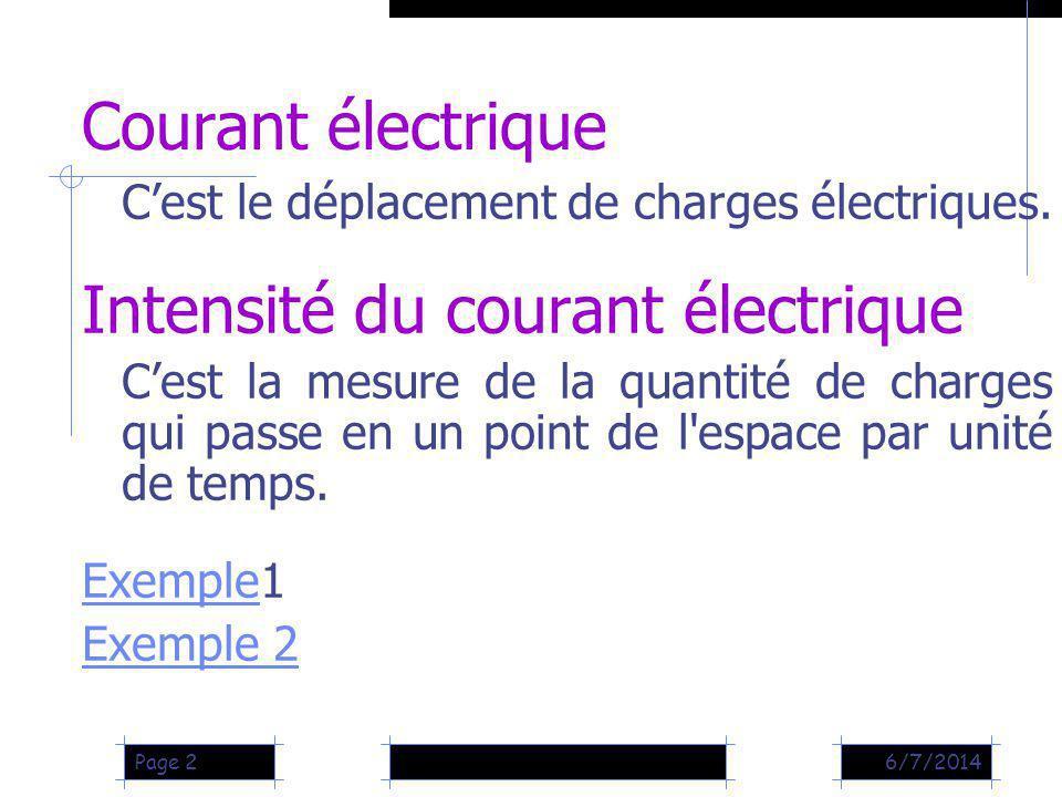 6/7/2014Page 2 Courant électrique Cest le déplacement de charges électriques. Intensité du courant électrique Cest la mesure de la quantité de charges