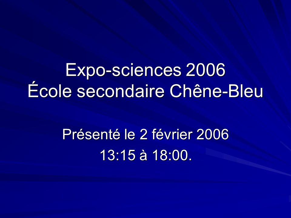 Expo-sciences 2006 École secondaire Chêne-Bleu Présenté le 2 février 2006 13:15 à 18:00.