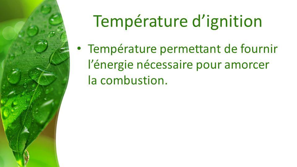 Température dignition Température permettant de fournir lénergie nécessaire pour amorcer la combustion.