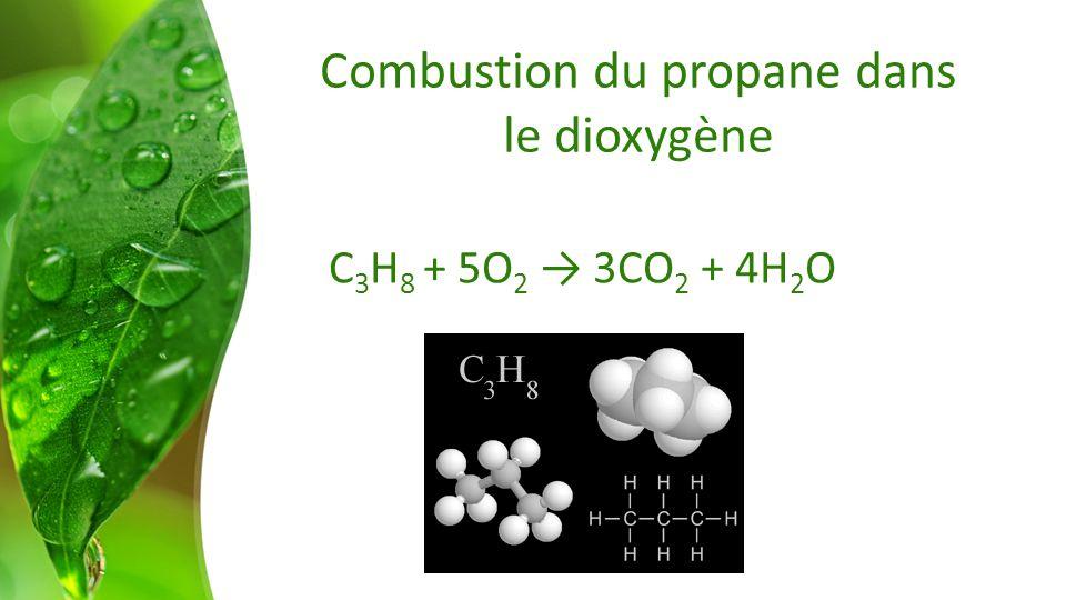 Combustion du propane dans le dioxygène C 3 H 8 + 5O 2 3CO 2 + 4H 2 O