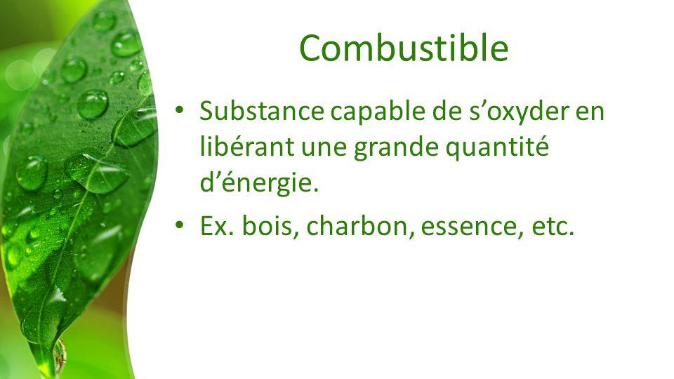 Combustible Substance capable de soxyder en libérant une grande quantité dénergie. Ex. bois, charbon, essence, etc.