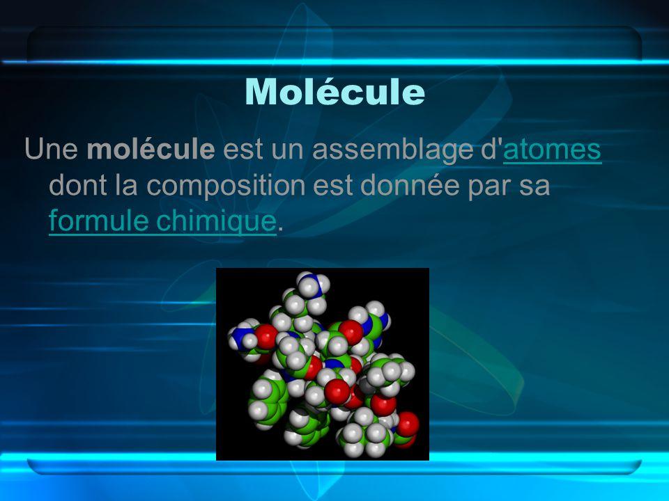 Molécule Une molécule est un assemblage d'atomes dont la composition est donnée par sa formule chimique.atomes formule chimique