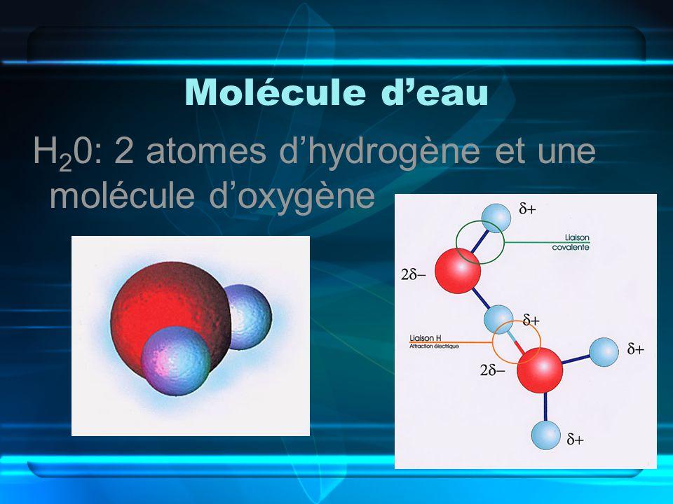 Molécule deau H 2 0: 2 atomes dhydrogène et une molécule doxygène