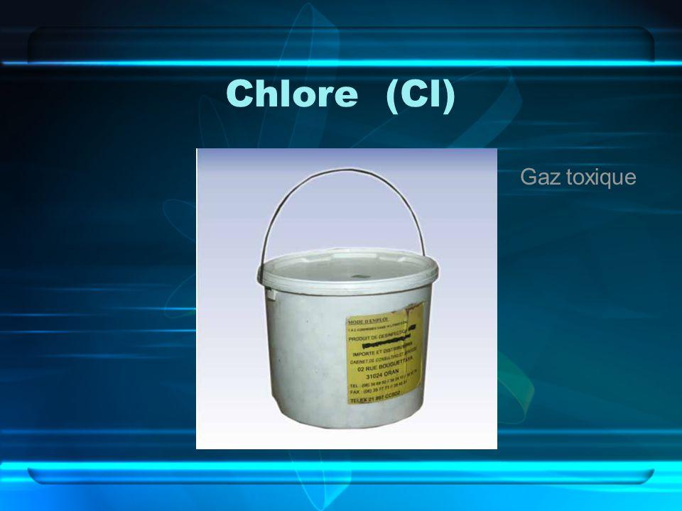 Chlore (Cl) Gaz toxique