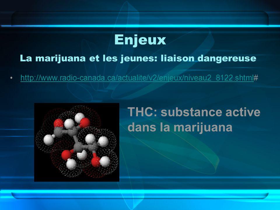Enjeux La marijuana et les jeunes: liaison dangereuse http://www.radio-canada.ca/actualite/v2/enjeux/niveau2_8122.shtml#http://www.radio-canada.ca/actualite/v2/enjeux/niveau2_8122.shtml THC: substance active dans la marijuana