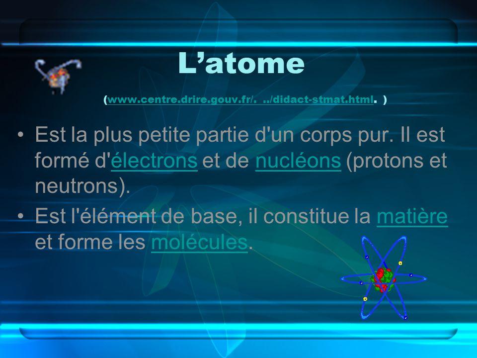 Latome (www.centre.drire.gouv.fr/.../didact-stmat.html. )www.centre.drire.gouv.fr/.../didact-stmat.html Est la plus petite partie d'un corps pur. Il e