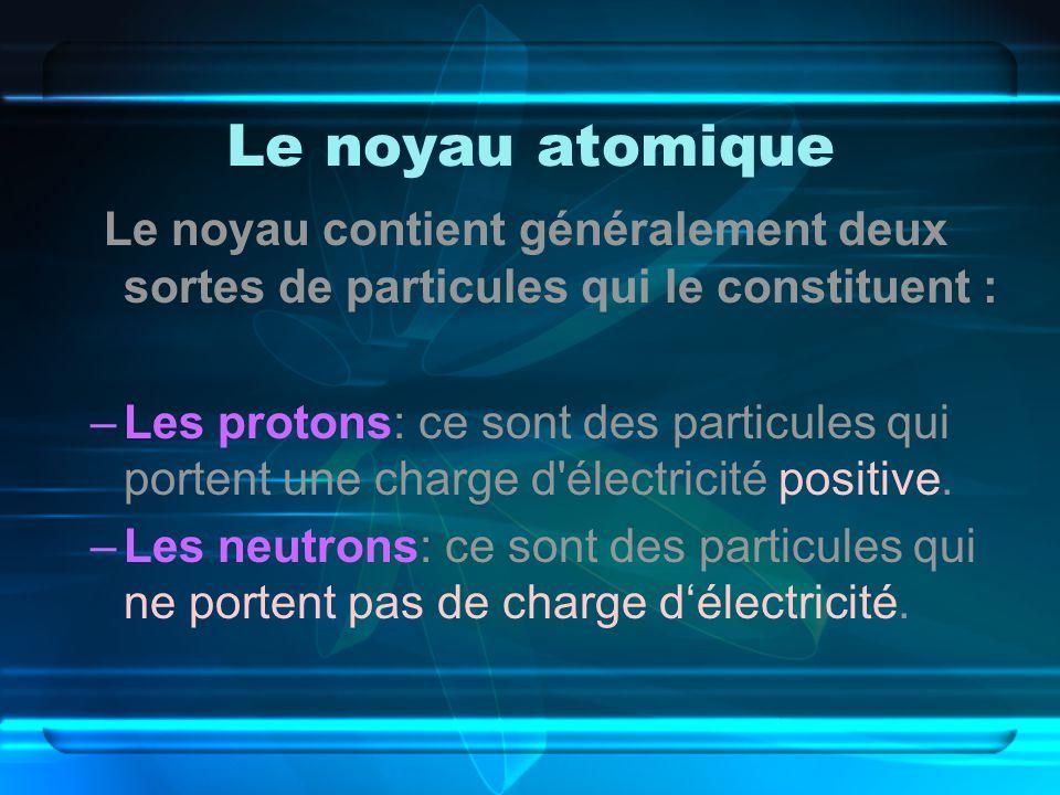 Le noyau atomique Le noyau contient généralement deux sortes de particules qui le constituent : –Les protons: ce sont des particules qui portent une charge d électricité positive.