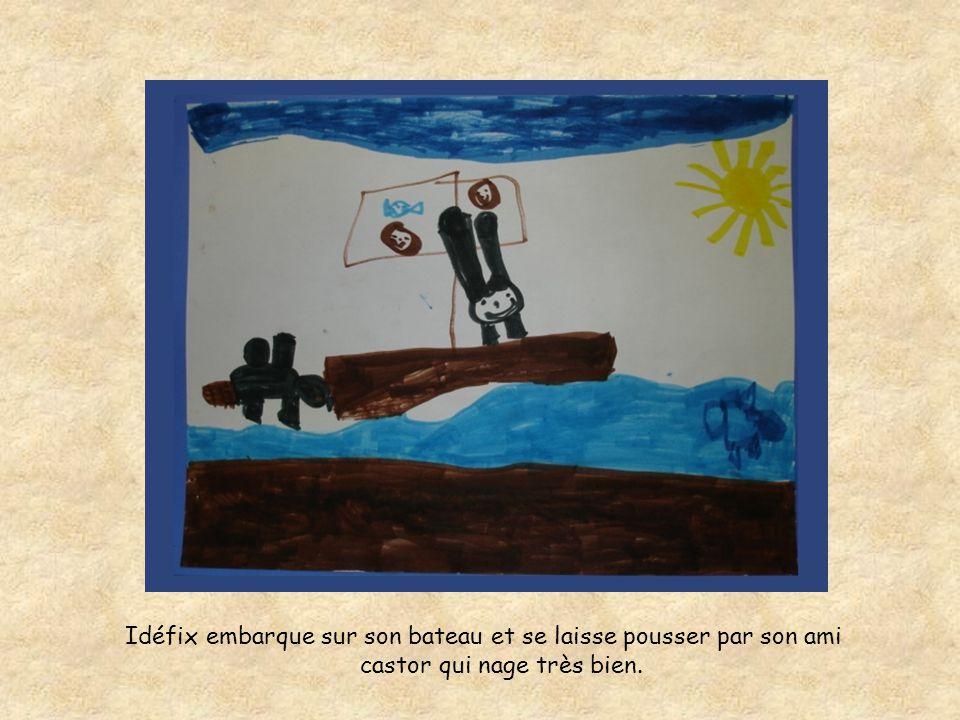 Idéfix embarque sur son bateau et se laisse pousser par son ami castor qui nage très bien.