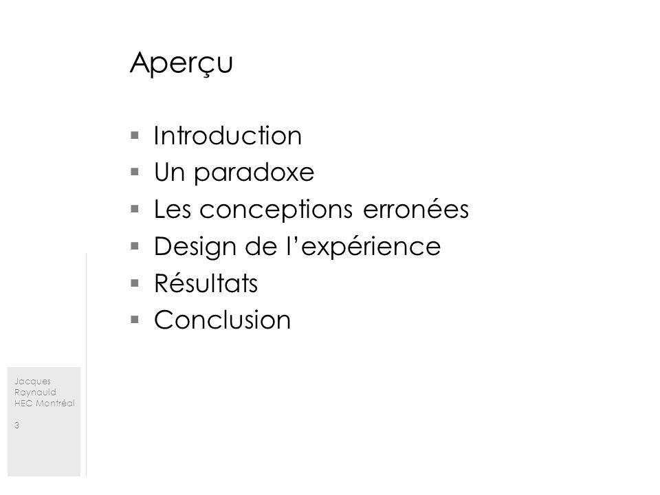 Jacques Raynauld HEC Montréal 3 Aperçu Introduction Un paradoxe Les conceptions erronées Design de lexpérience Résultats Conclusion