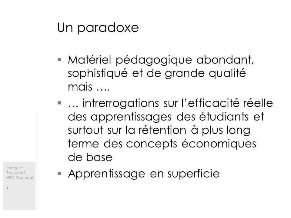 Jacques Raynauld HEC Montréal 6 Un paradoxe Matériel pédagogique abondant, sophistiqué et de grande qualité mais …. … intrerrogations sur lefficacité