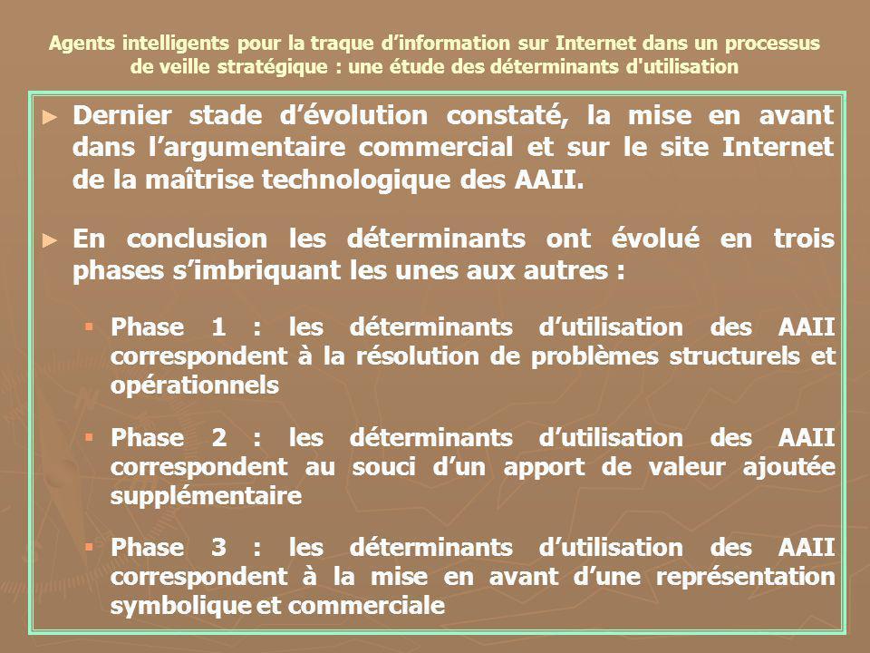 Agents intelligents pour la traque dinformation sur Internet dans un processus de veille stratégique : une étude des déterminants d'utilisation Dernie