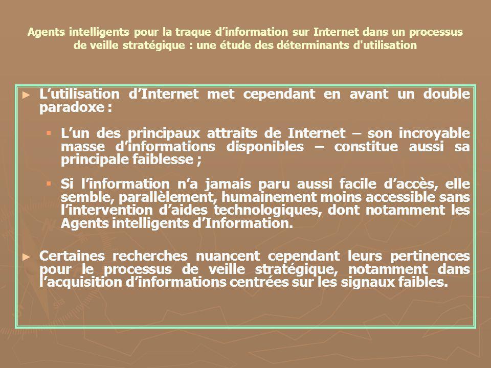 Agents intelligents pour la traque dinformation sur Internet dans un processus de veille stratégique : une étude des déterminants d'utilisation Lutili