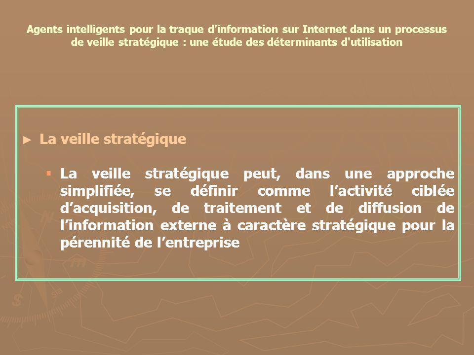 Agents intelligents pour la traque dinformation sur Internet dans un processus de veille stratégique : une étude des déterminants d'utilisation La vei