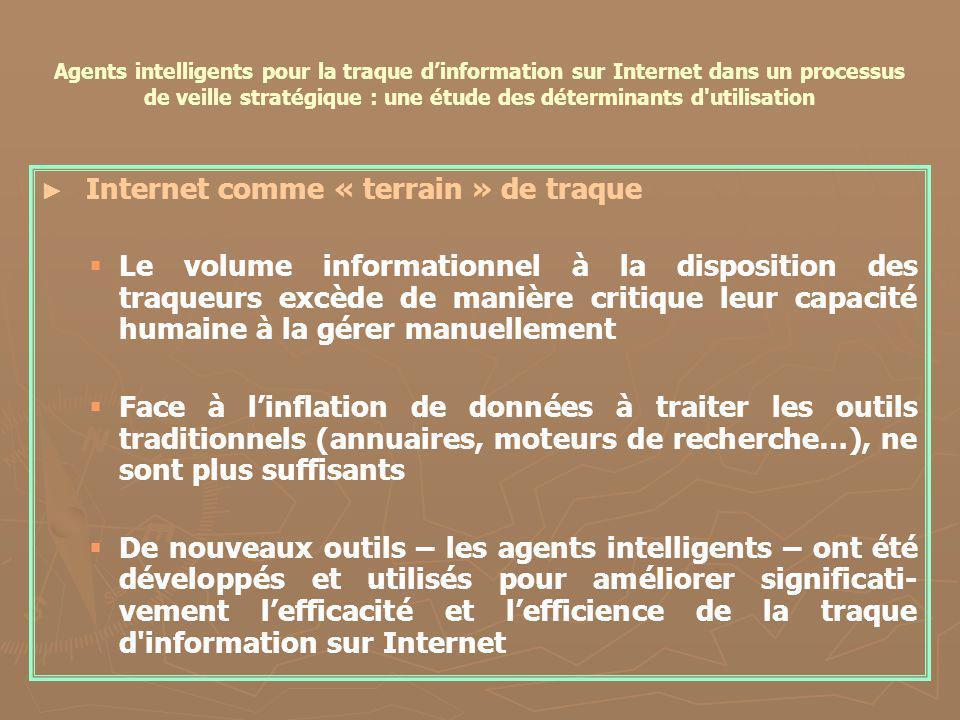 Agents intelligents pour la traque dinformation sur Internet dans un processus de veille stratégique : une étude des déterminants d'utilisation Intern