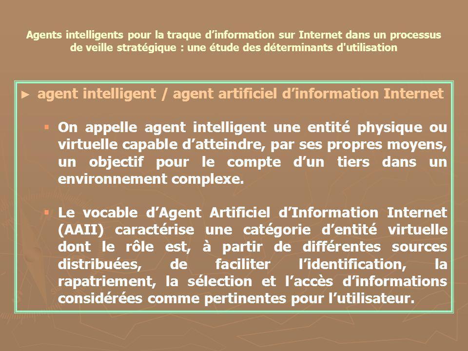 Agents intelligents pour la traque dinformation sur Internet dans un processus de veille stratégique : une étude des déterminants d'utilisation agent