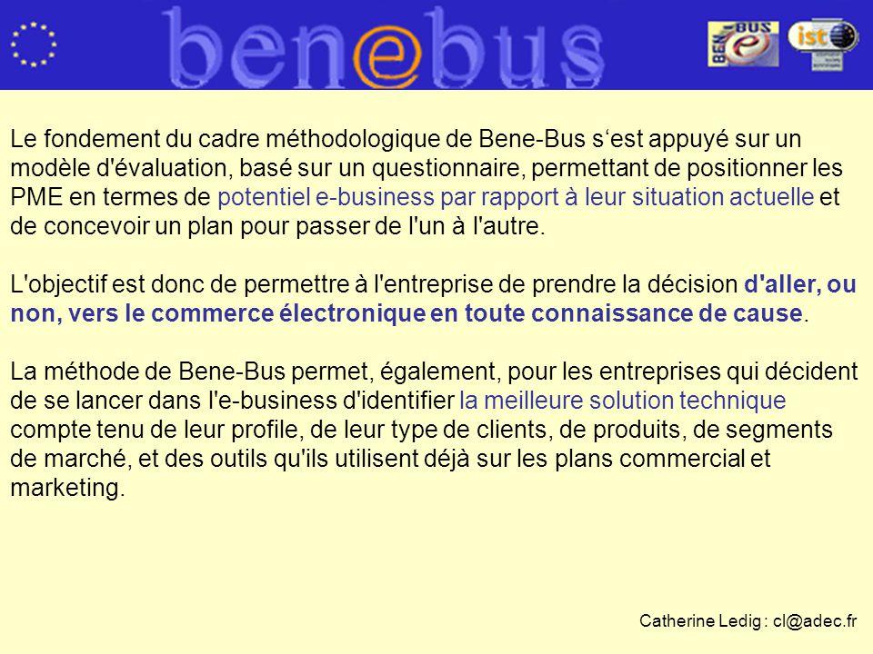 Le fondement du cadre méthodologique de Bene-Bus sest appuyé sur un modèle d évaluation, basé sur un questionnaire, permettant de positionner les PME en termes de potentiel e-business par rapport à leur situation actuelle et de concevoir un plan pour passer de l un à l autre.