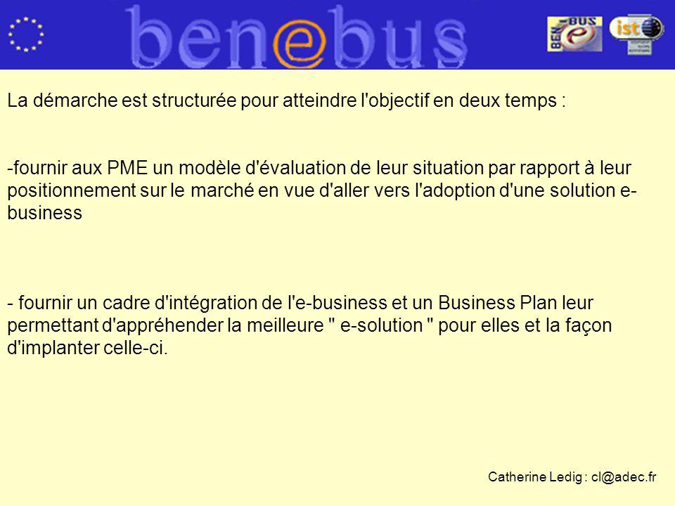 La démarche est structurée pour atteindre l objectif en deux temps : -fournir aux PME un modèle d évaluation de leur situation par rapport à leur positionnement sur le marché en vue d aller vers l adoption d une solution e- business - fournir un cadre d intégration de l e-business et un Business Plan leur permettant d appréhender la meilleure e-solution pour elles et la façon d implanter celle-ci.