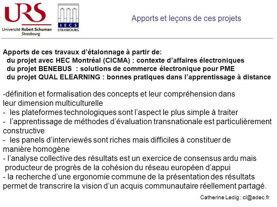 Apports de ces travaux détalonnage à partir de: du projet avec HEC Montréal (CICMA) : contexte daffaires électroniques du projet BENEBUS : solutions d