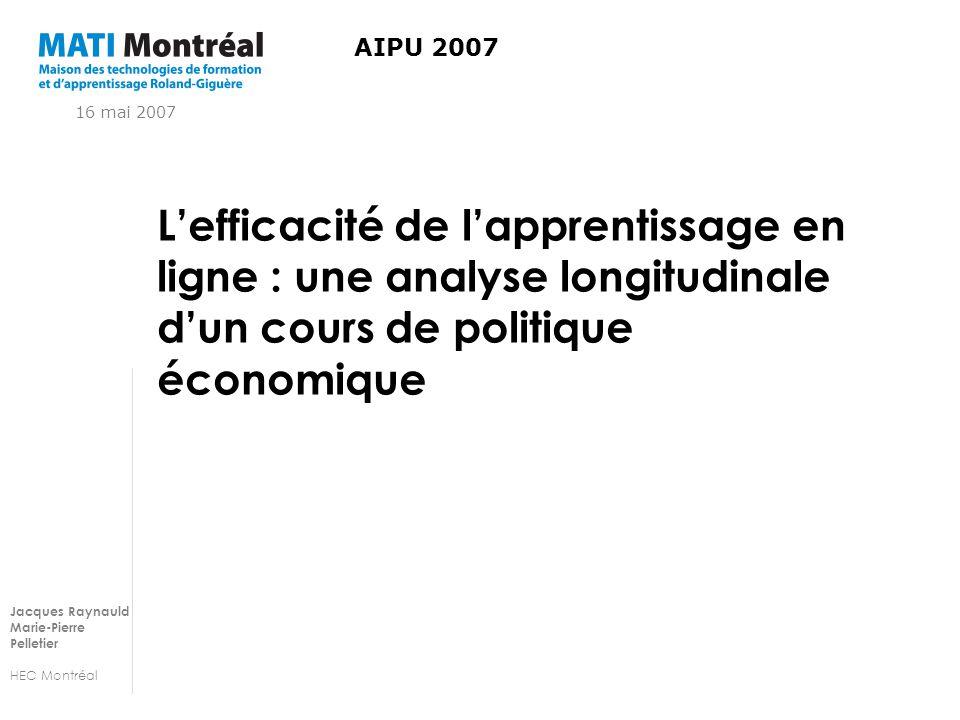 Jacques Raynauld Marie-Pierre Pelletier HEC Montréal Lefficacité de lapprentissage en ligne : une analyse longitudinale dun cours de politique économique AIPU 2007 16 mai 2007