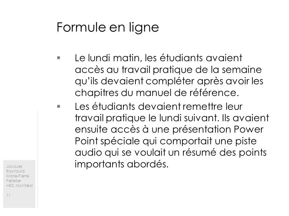 Jacques Raynauld Marie-Pierre Pelletier HEC Montréal 11 Formule en ligne Le lundi matin, les étudiants avaient accès au travail pratique de la semaine quils devaient compléter après avoir les chapitres du manuel de référence.