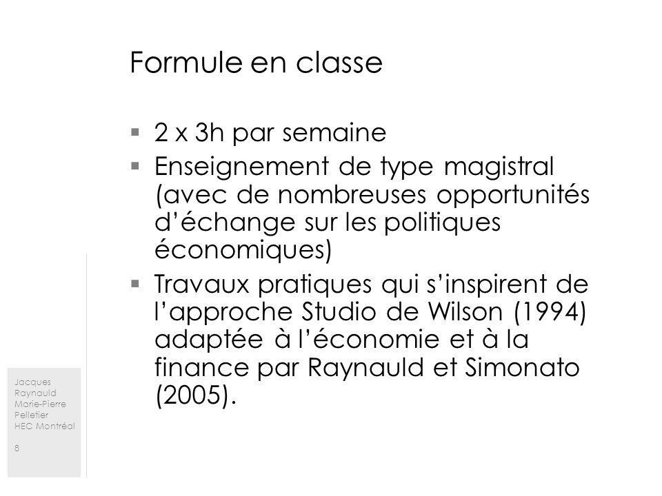 Jacques Raynauld Marie-Pierre Pelletier HEC Montréal 8 Formule en classe 2 x 3h par semaine Enseignement de type magistral (avec de nombreuses opportunités déchange sur les politiques économiques) Travaux pratiques qui sinspirent de lapproche Studio de Wilson (1994) adaptée à léconomie et à la finance par Raynauld et Simonato (2005).