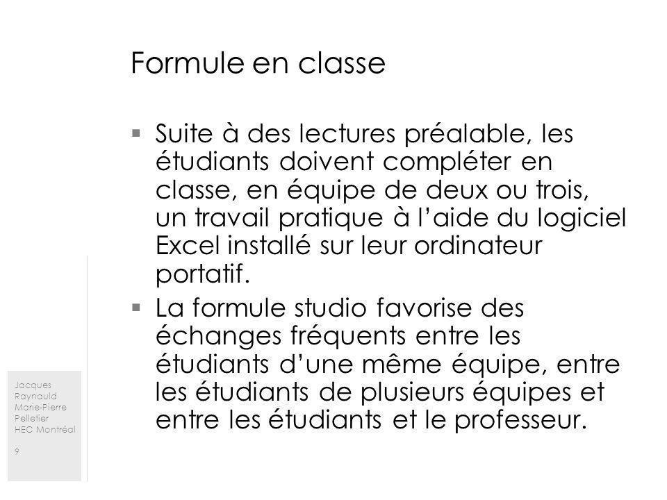 Jacques Raynauld Marie-Pierre Pelletier HEC Montréal 9 Formule en classe Suite à des lectures préalable, les étudiants doivent compléter en classe, en équipe de deux ou trois, un travail pratique à laide du logiciel Excel installé sur leur ordinateur portatif.