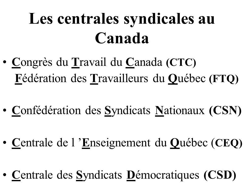Les centrales syndicales au Canada Congrès du Travail du Canada (CTC) Fédération des Travailleurs du Québec (FTQ) Confédération des Syndicats Nationaux (CSN) Centrale de l Enseignement du Québec ( CEQ) Centrale des Syndicats Démocratiques (CSD)