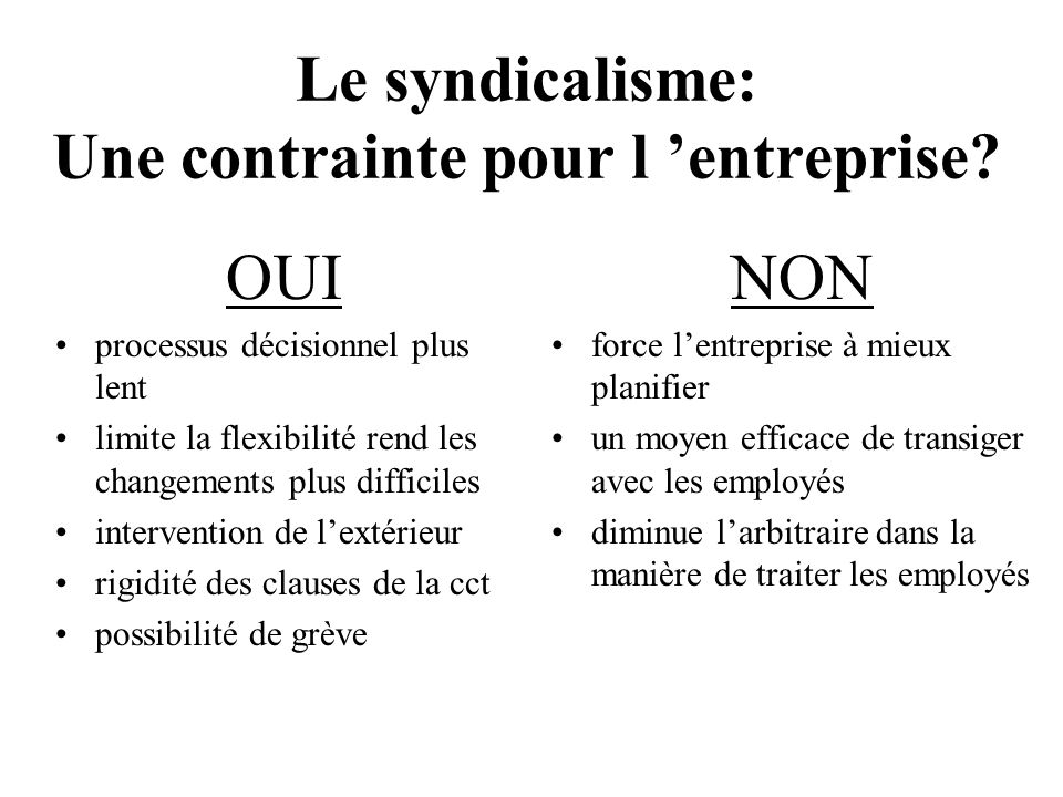 La participation du syndicat est essentielle À cause de la convention collective À cause de la méfiance des employés À cause du gage de pérennité