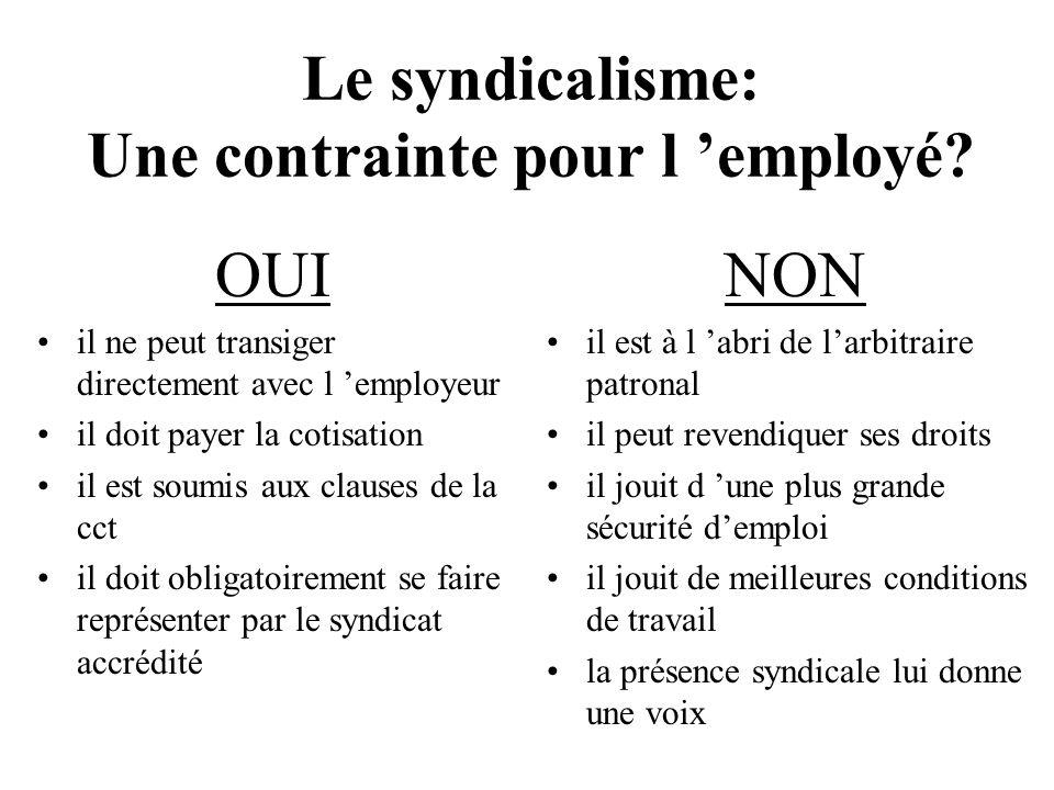 Le syndicalisme: Une contrainte pour l employé.