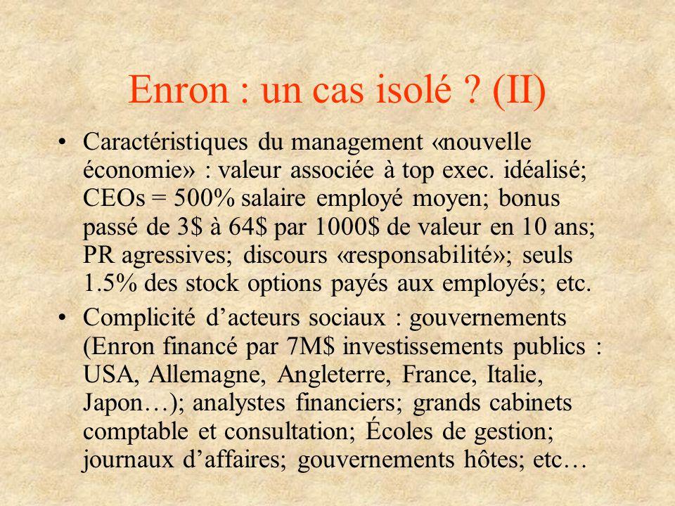 Enron : un cas isolé ? (II) Caractéristiques du management «nouvelle économie» : valeur associée à top exec. idéalisé; CEOs = 500% salaire employé moy