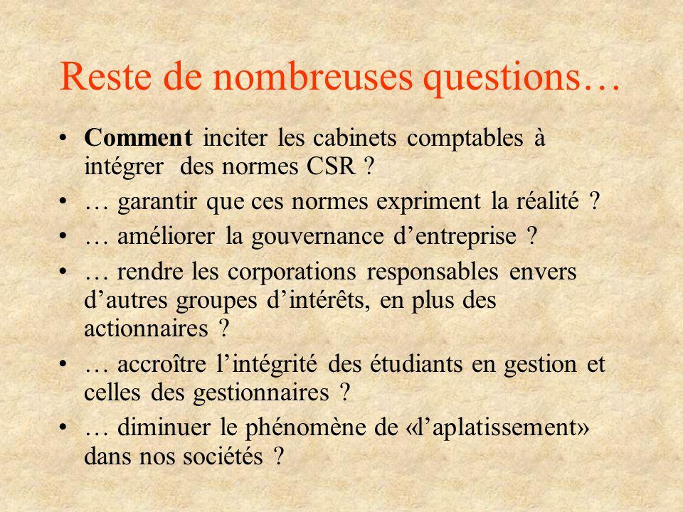 Reste de nombreuses questions… Comment inciter les cabinets comptables à intégrer des normes CSR ? … garantir que ces normes expriment la réalité ? …