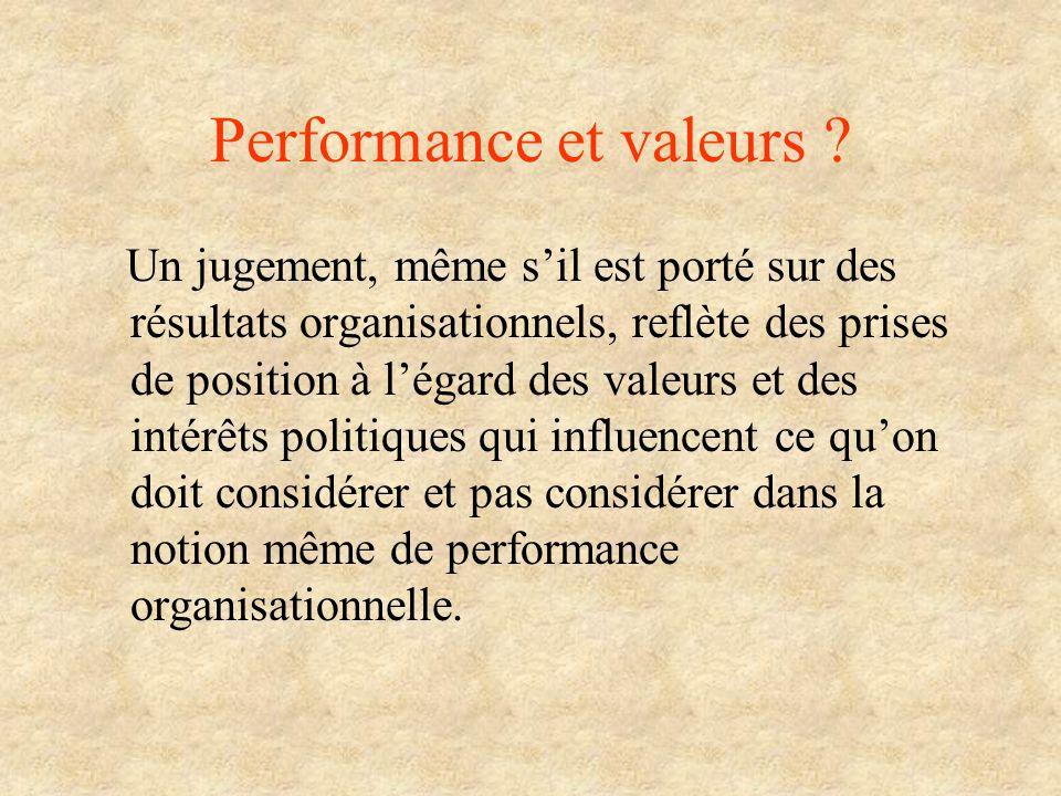 Performance et valeurs ? Un jugement, même sil est porté sur des résultats organisationnels, reflète des prises de position à légard des valeurs et de