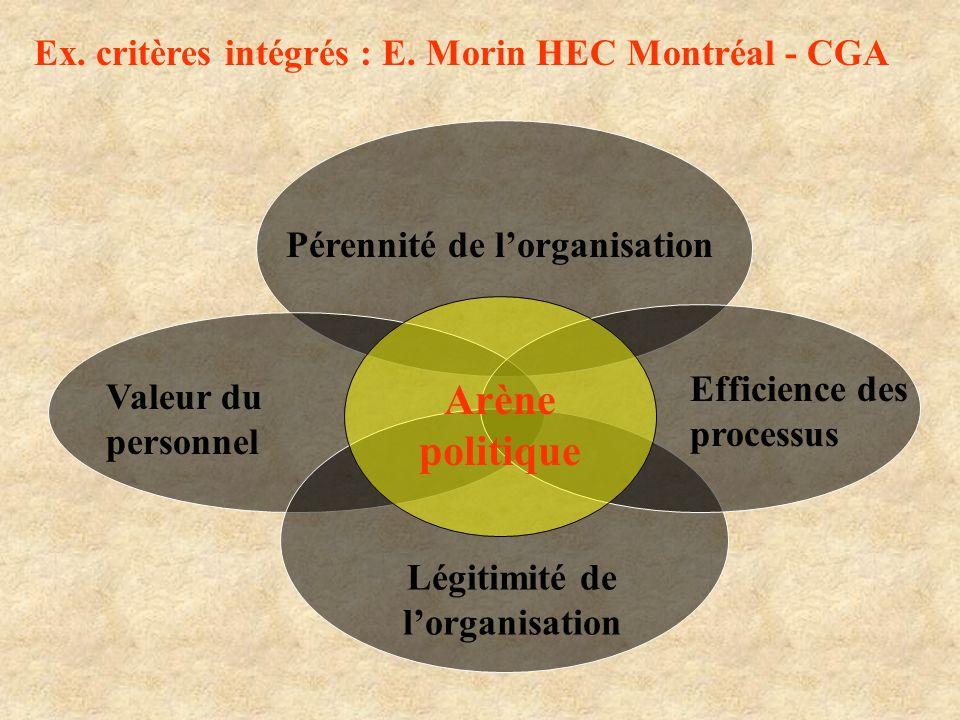 Pérennité de lorganisation Valeur du personnel Efficience des processus Légitimité de lorganisation Arène politique Ex. critères intégrés : E. Morin H