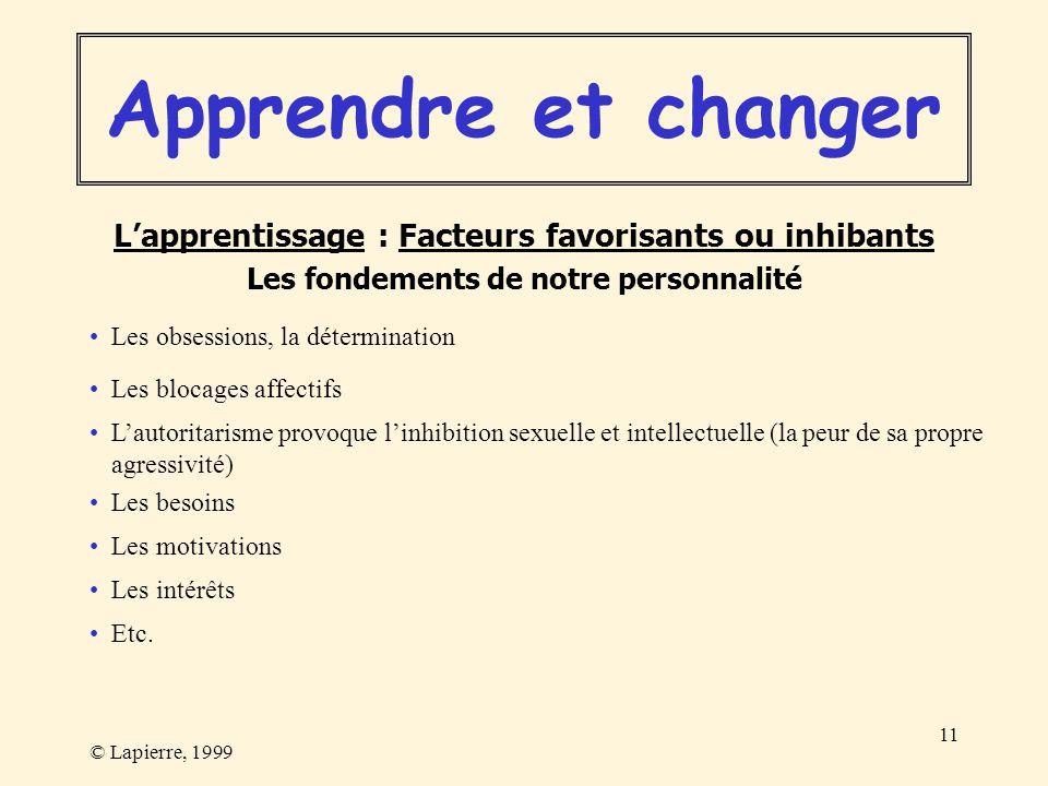 © Lapierre, 1999 11 Les blocages affectifs Les besoins Les motivations Les intérêts Etc. Les obsessions, la détermination Apprendre et changer Lappren