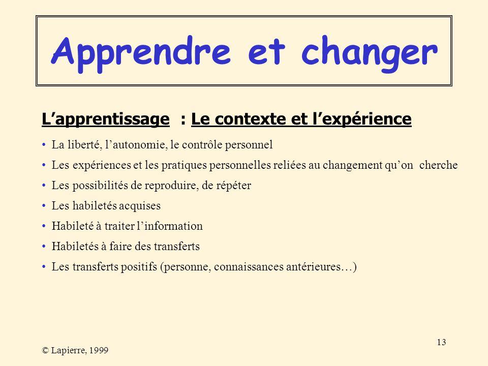 © Lapierre, 1999 13 Lapprentissage : Le contexte et lexpérience Les expériences et les pratiques personnelles reliées au changement quon cherche Les p