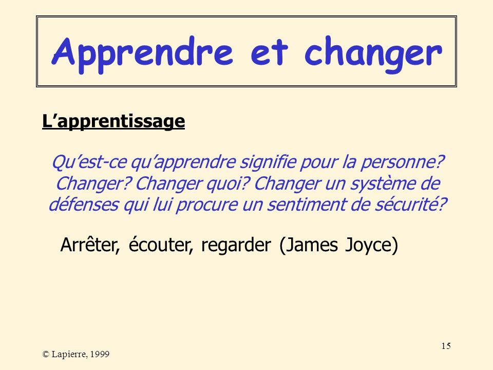 © Lapierre, 1999 15 Quest-ce quapprendre signifie pour la personne? Changer? Changer quoi? Changer un système de défenses qui lui procure un sentiment