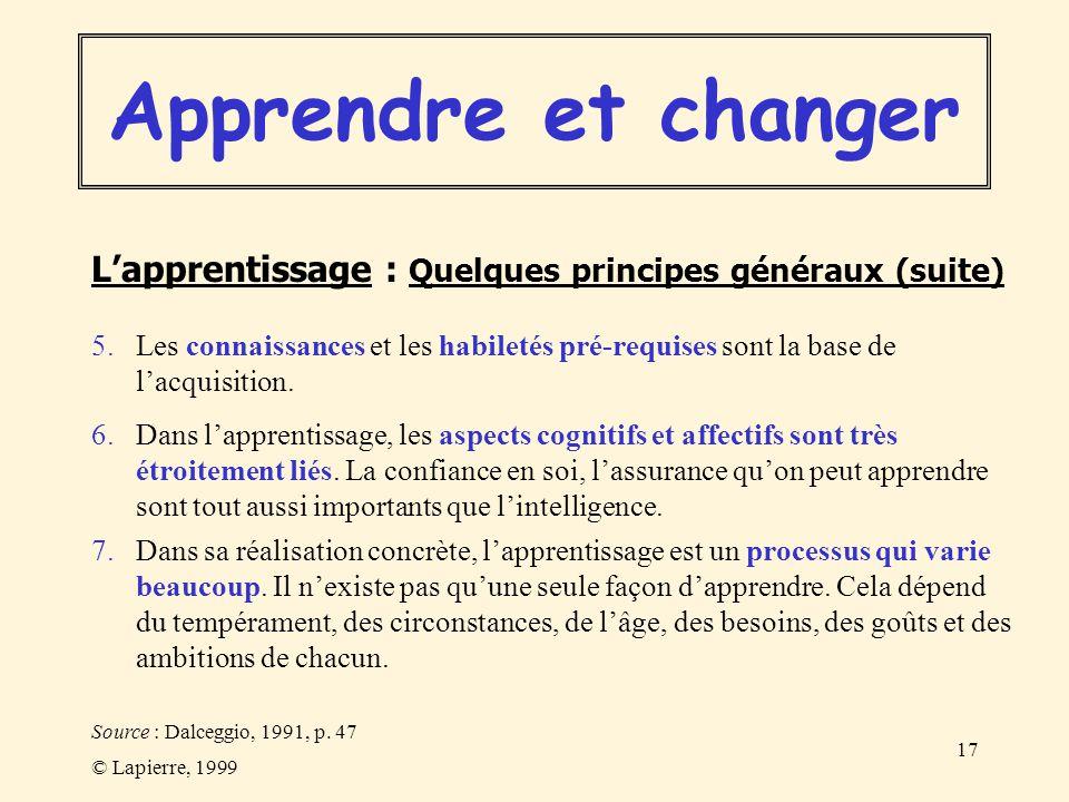 © Lapierre, 1999 17 5. Les connaissances et les habiletés pré-requises sont la base de lacquisition. 6. Dans lapprentissage, les aspects cognitifs et